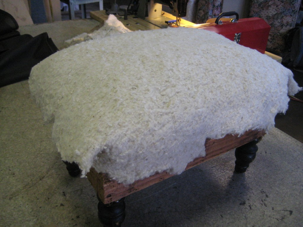 footstool w/cotton batting