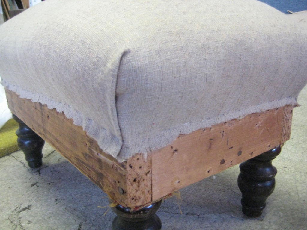 footstool with fabric