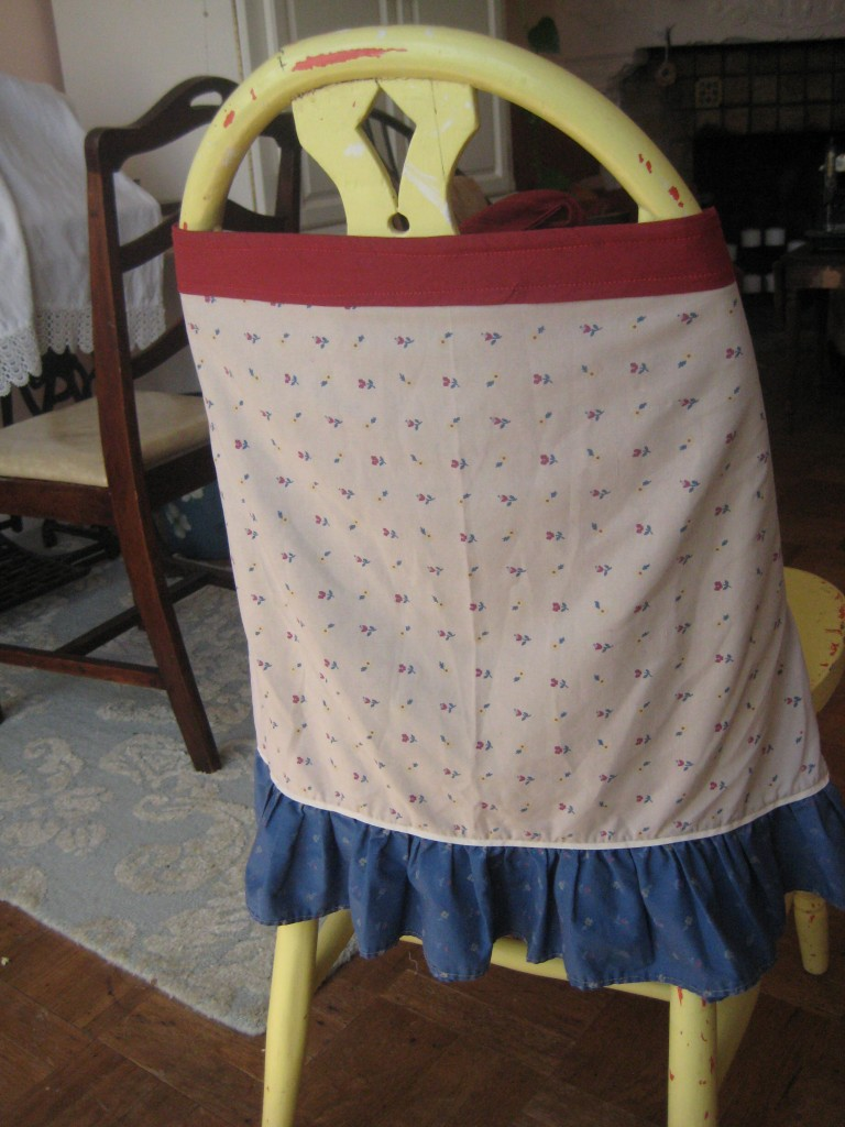 finished apron on chair
